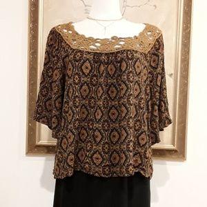 Tops - Embroidery Neckline Loose Top